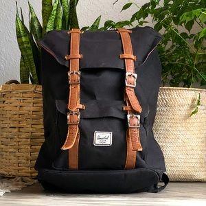 Herschel Little America Black & Tan Backpack
